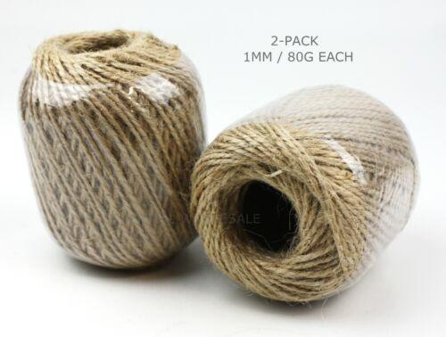 2-PACKS 1-3mm Jute Twine Cord Burlap Rope Twist Hemp Natural Linen Craft String