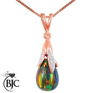 BJC-9-ct-Oro-Rosa-Negro-opalo-y-diamante-Briolette-Colgante-De-Gota-Collar