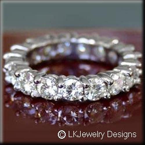 1.30CT MOISSANITE ROUND FOREVER BRILLIANT FULL ETERNITY PRONG WEDDING BAND RING
