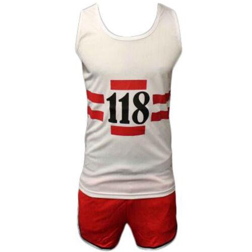 Childrens 118 maratona Retrò Set Completo Costume Pantaloncini Gilet Cappello