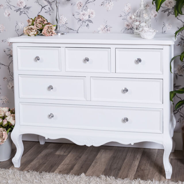 remarkable shabby chic white bedroom furniture   Large White Chest of Drawers French Shabby Vintage Chic ...