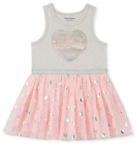 Juicy-Couture-Toddler-Girls-Gray-amp-Pink-Heart-Tutu-Dress-Size-2T-3T-4T-70