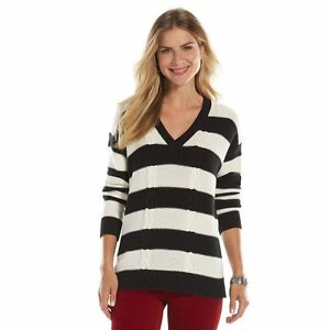 Chaps Black White Striped V Neck Cable Mixed Knit Sweater Womens
