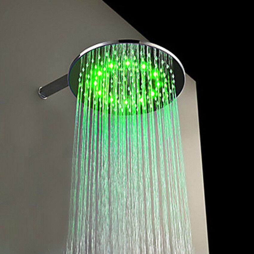 12  Couleur DEL Chrome Plafond Douche ronde pluie tête de douche en laiton tête de douche