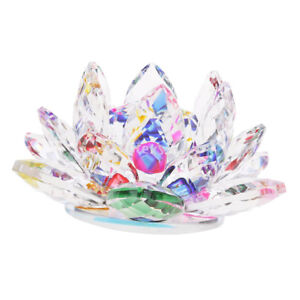 Crystal-Lotus-Flower-Buddhist-Ornament-Feng-Shui-Art-Glass-Paperweight-Multi
