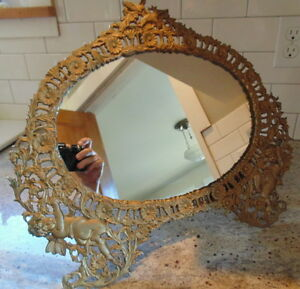 Antique Art Nouveau Brass Vanity Or Table Top Mirror Stand Cherubs