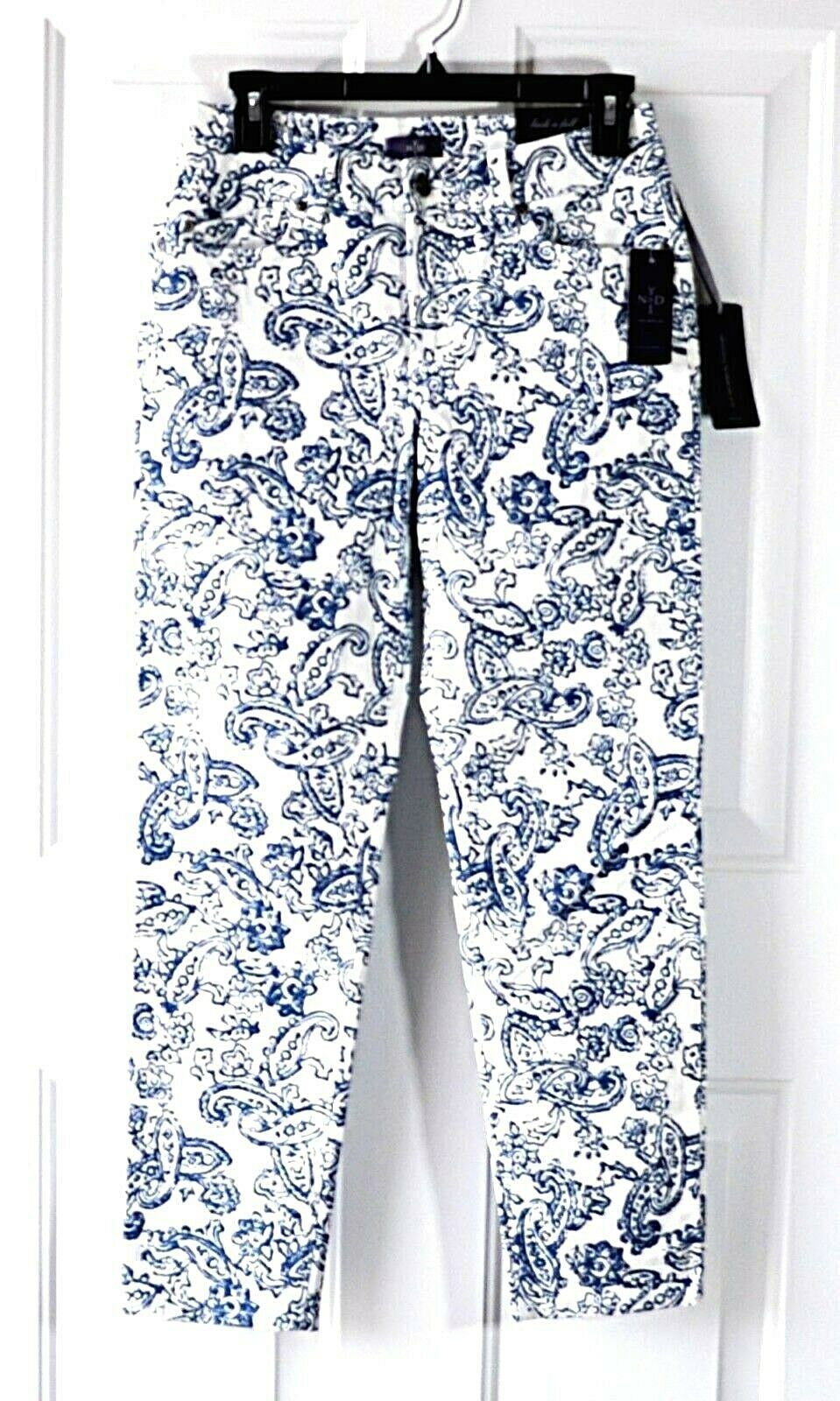 Not Your Daughters Jeans White Pants bluee Paisley Print Size 2 Ankle NEW