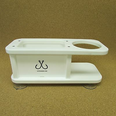 APF Marine Two Beverage Cup Holder w Large Storage Box for Boat Yacht Fishing