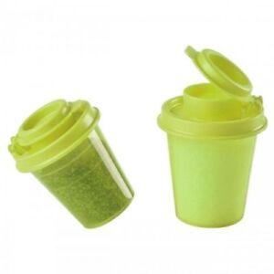 Tupperware Mini Salt And Pepper Shakers Set Of 2 Lime Green New Ebay
