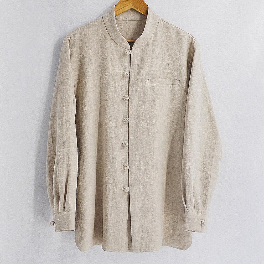 Fashionable Handmade Mens Cotton Linen Casual Wear Long Sleeve Shirt