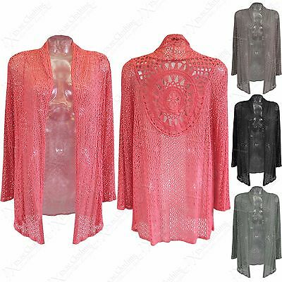 Geschickt New Ladies Crochet Lace Open Cardigan Women Net Look Summer Beach Wear Cardi Top