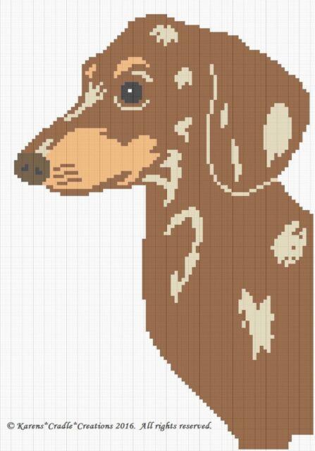 Crochet Patterns Dachshund Brown Dapple Dog Graph Afghan Pattern