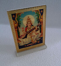 "Saraswati Saraswathi Maa - Acrylic Photo Frame * Car Sticker Stand (3.5"")"