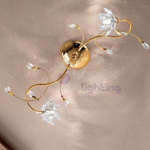 Plafoniera-soffitto-lampadario-design-moderno-ottone-oro-fiori-cristallo-salone