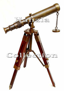 Nautical-Antique-Brass-Telescope-With-Wooden-Tripod-Stand-Collectible-Desk-Decor