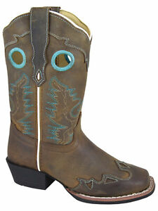 Smoky-Children-039-s-Kid-039-s-Brown-Distress-Square-Toe-Wing-Tip-Western-Cowboy-Boot