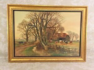 Henry-Charles-Fox-Farm-Scene-Watercolor-Painting-Signed-and-Dated-Newman-Gallery