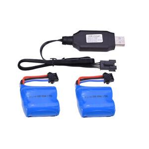 2pcs-7-4V-600Mah-Li-Ionbatterie-4P-Stecker-USB-Aufladeeinheit-fur-UDI001-RC-Boot