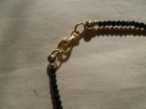2,2 mm Feines Armband mit Spinell 17,5-21 cm 925 vergoldet schwarz facettiert