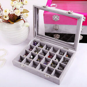 24 Slots Velvet Glass Top Jewelry Holder Organizer Box Earring