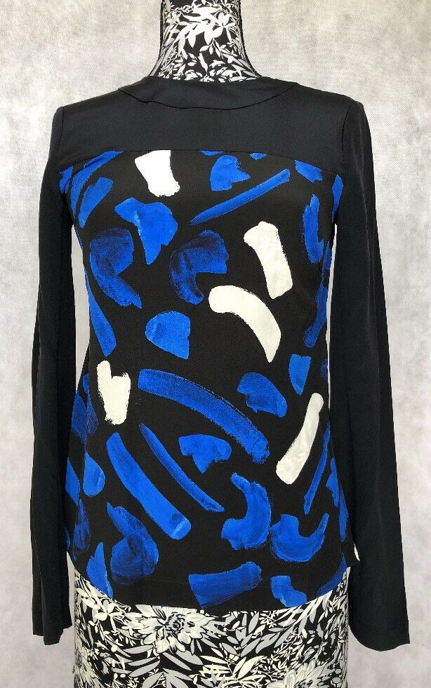 grau Jason Wu damen Top Größe 2 NWT 100% Silk Printed Top Longsleeve