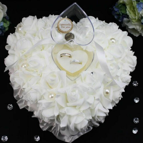 USA Wedding Ceremony Ivory Satin Crystal Ring Bearer Pillow Cushion Ring Pillow