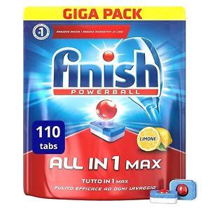 Finish All in 1 Max Pastiglie Lavastoviglie Limone 110 Tabs Tutto in 1 Giga Pack