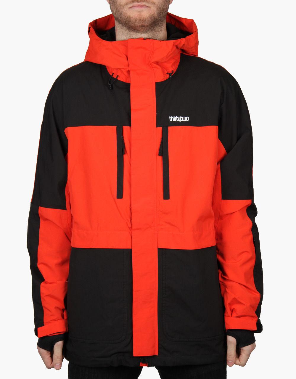 2016 Nwt Uomo Thirtytwo Blythe Giacca da Snowboard Mandarino Arancione 2L