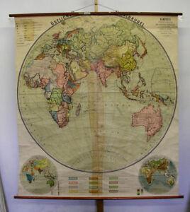 Schulwandkarte-oestliche-Halbkugel-Erdhaelfte-Planiglobe-175x196cm-1910-vintage