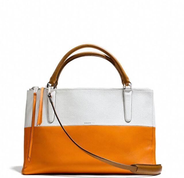 Coach Borough Bag In Colorblock Retro Boarskin Leather 31121 Mandarin Orang