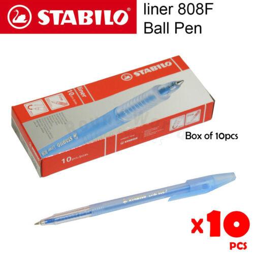 10pcs Stabilo liner 808F Fine Ball Pen in Box 0.7mm, 3 color: Blue Black Red