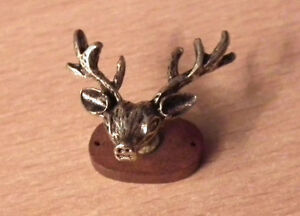 1/12 dolls house miniature Deer Head Wall Plaque Ornament Library Lounge etc LGW
