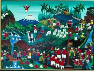 Vintage Peruvian Folk Art Original Mountain Valley Landscape Oil Painting Framed