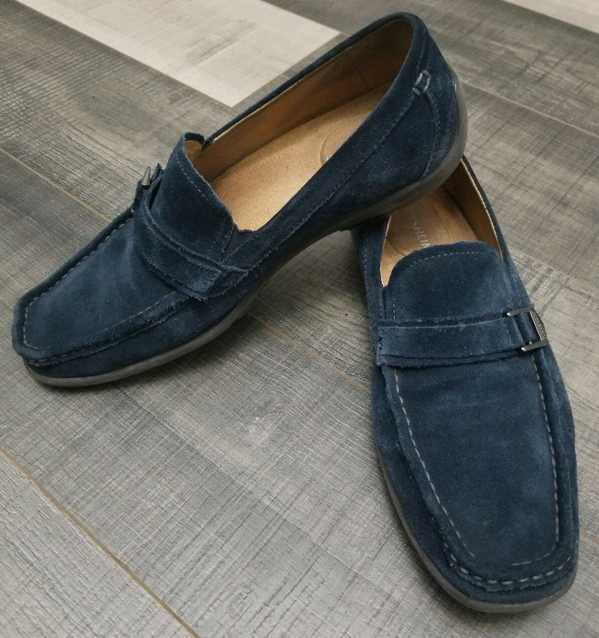 Florsheim - Navy Blue Suede Oval Mock Toe Loafer Shoes Mens - Size 8 D Medium