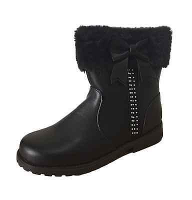 GIRLS BLACK BOOTS EX UK STORE DIAMANTE BOW FUR TRIM BRAND NEW