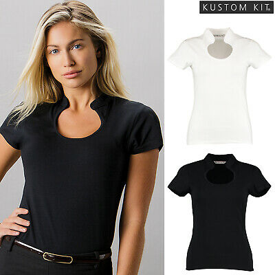 Womens Ladies Kustom Kit Business Corporate Work T Shirt Top Keyhole Neck KK755