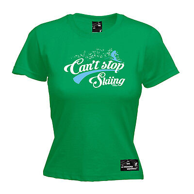 Skiing Ski Tops T-shirt Funny Novelty Womens Tee - Ski Cant Stop Skiing