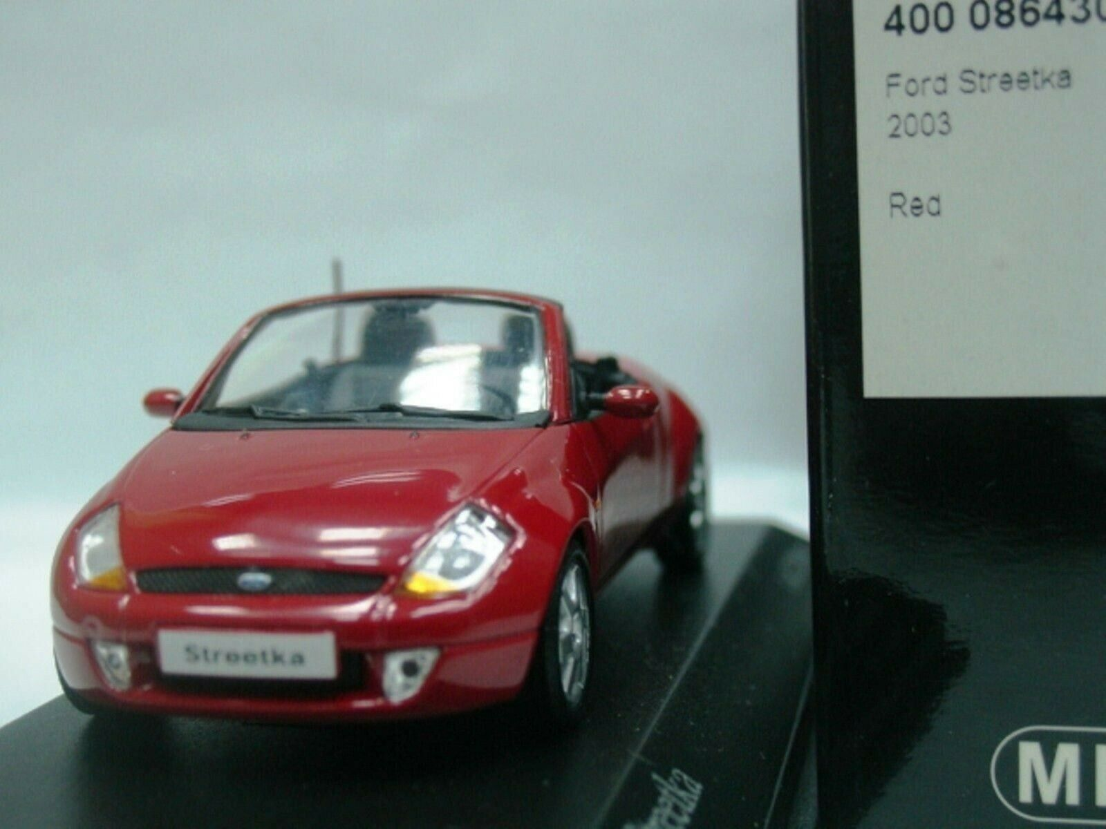 WOW EXTREMELY RARE Ford Streetka Ka Ghia Cabriolet 2003 Red 1 43 Minichamps-GT
