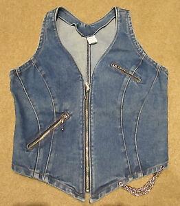 New-Blue-Jean-Denim-Ladies-Zip-Up-Vest-with-Chain-Sizes-XS-S-M-XL-2X-3X
