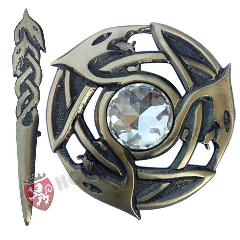 HS Scottish Fly Plaid Brooch White Stone Antique/Serpents Celtic Knot Kilt Pin 4