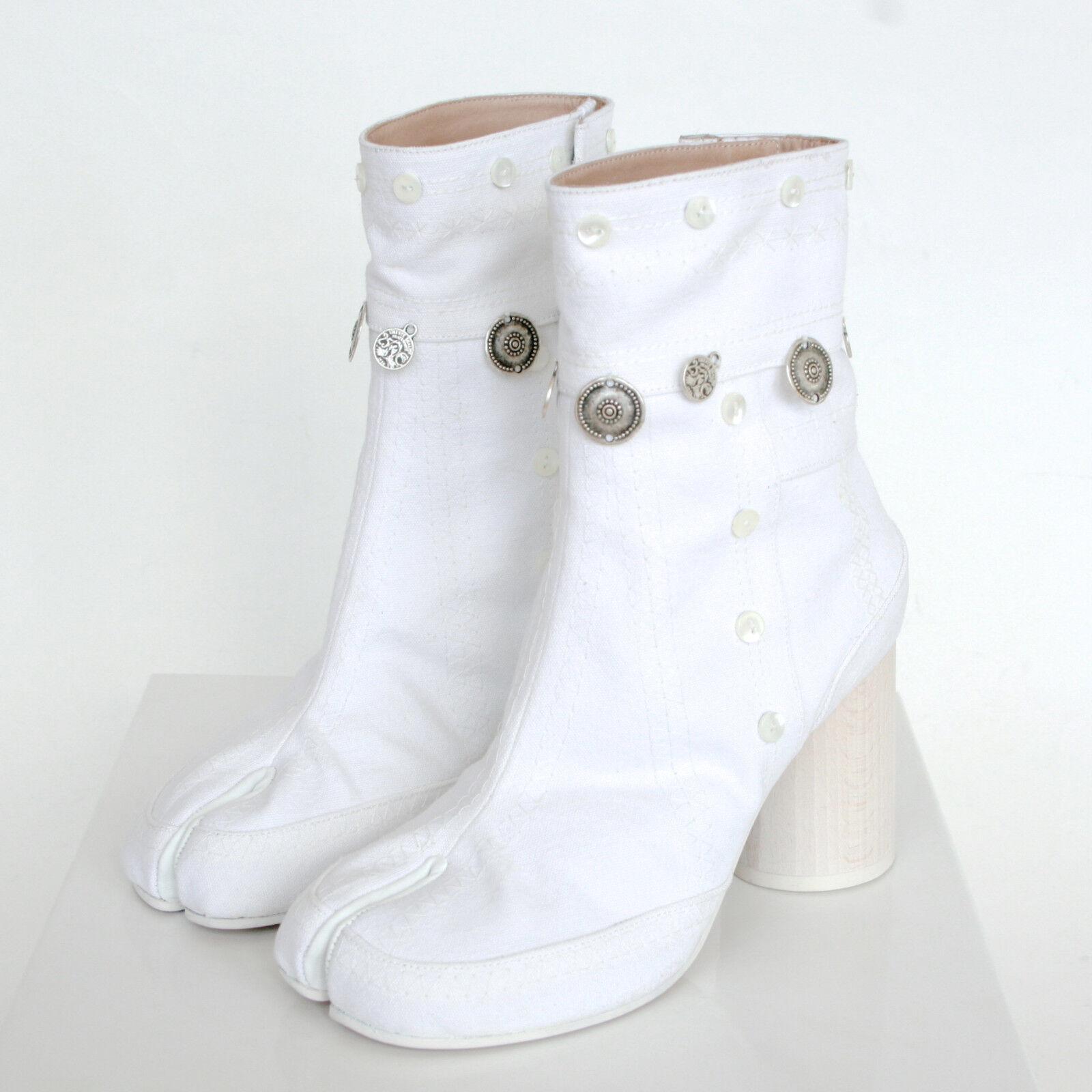 MAISON MARTIN MARGIELA split toe gypsy coin embroidered white tabi boots 37 NEW