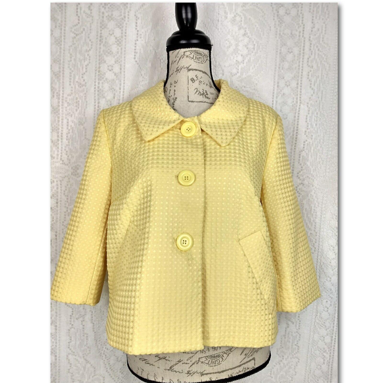 Spense Womens Blazer Size Medium Yellow 3 4 Sleeve Button Textured