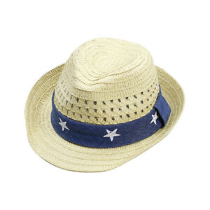 a1c69f5a5 Details about Baby Kids Unisex Summer Sun Cap Infant Boys Beach Straw Hat  Cap Wide Brim