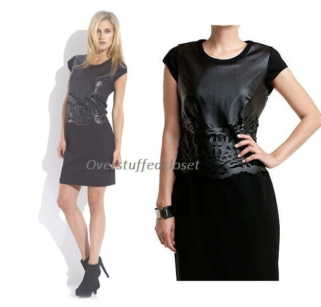 NWT  Laundry by Shelli Segal Faux Leather Laser Cut And Ponte Dress 6