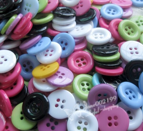 E487 17mm Round Plastic Button Sewing Tools Crafts/Appliques Lots Mix 100pcs