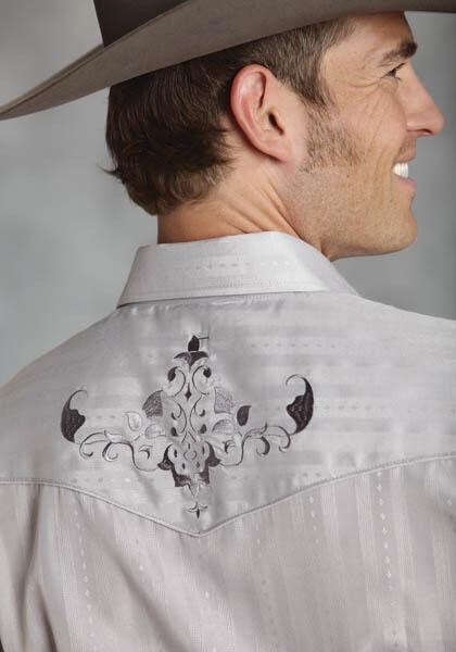 Roper Mens Grey G  LS Embroidered Western Show Dress Rodeo Shirt S M L XL