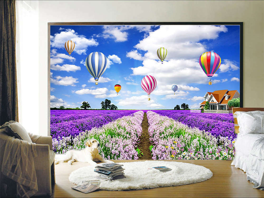 lila Notable Field 3D Full Wall Mural Photo Wallpaper Printing Home Kids Decor