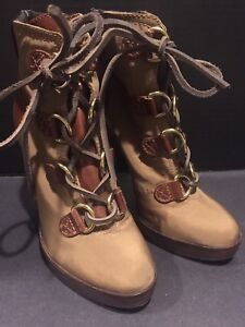 aebecfb408a Image is loading Tory-Burch-High-Heel-Lace-Up-Brown-Ankle-