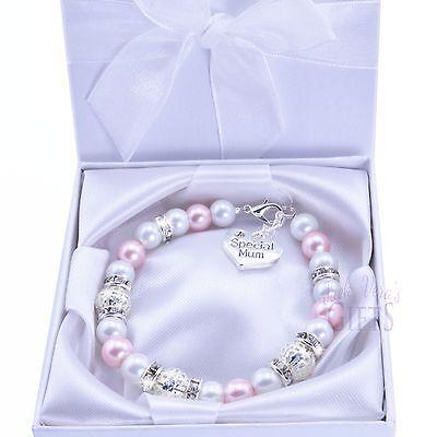 Baby Pink Pearl Bead Charm Bracelet - Mum Sister Nan Friend Auntie Daughter
