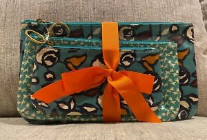 Fossil Triple Pouch Clutch Make Up Bag Set of 3 New